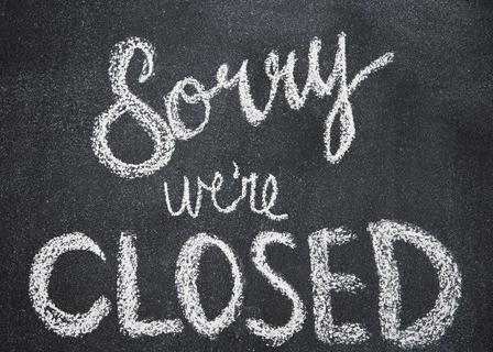 Sorry we're closed (c) ID 107024042 © Graham Hughes | Dreamstime.com